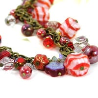 Christmas Bracelet, Vintage Peppermint Beads, Red Beaded