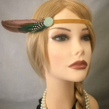 1920's inspired native american flapper green brown mustard yellow headband crystal feather adjustable 1920 head headpiece 20s pow wow (689)