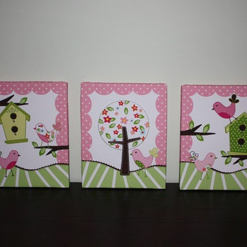 Set of 3 Sweet Tweat Lil Birdies on Stretched Canvases Girls Bedroom CANVAS Bedroom Wall Art 3CS028