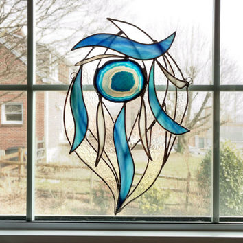 Agate Geode Stained Glass Suncatcher - Blue and White - Boho Decor - Abstract Art - Modern Art - Dream Catcher - Glass Sculpture