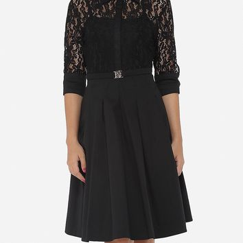 Casual Lace Patchwork Plain Alluring Lapel Skater-dress