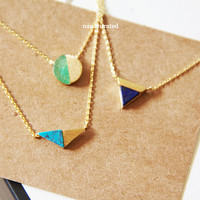 Stone Charm Necklace, Hipster Necklace, Necklaces, Gold Plated Necklace, Bar Necklace, Bar Dog Tag, Minimal Jewelry, Gift Ideas, Holiday
