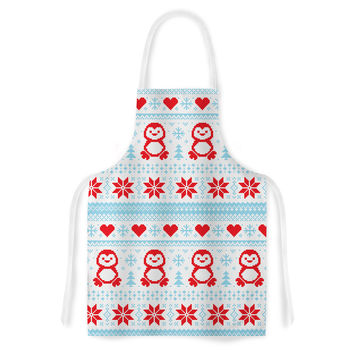 "KESS Original ""Pixel Penguin Holiday"" Christmas Pattern Artistic Apron"