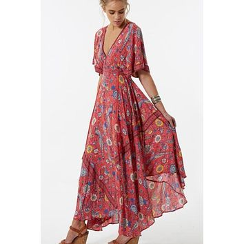 Bohemian Retro Ethnic Deep V-neck Floral Print Maxi Dress