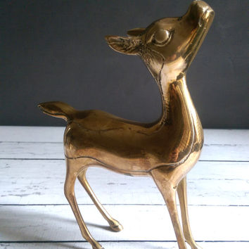 Large Brass Deer/ Vintage Brass Deer Statue/ Large Deer Statue/ Antique Brass Deer