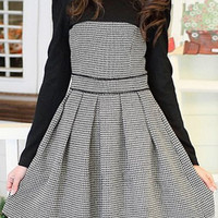 Checked Print Splicing Long Sleeve Pleated Dress