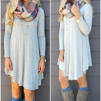 Follow Your Heart Heather Gray V-Neck Long Sleeve Dress