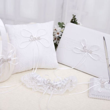 5pcs/set White Satin with Handmade Love Letter Diamond  Wedding Guest Book Pen Holder Ring Pillow Flower Girl Basket Garter Set