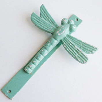 Jade Dragonfly Door Knocker, Rustic Garden Decor, Shabby Chic Home Decor