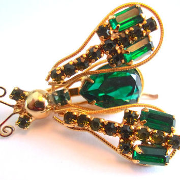 Insect Bug Trembler Rhinestone Brooch-Pin, Green, Gold Tone, Vintage