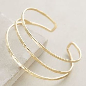 Strands Cuff by Anthropologie Gold One Size Bracelets