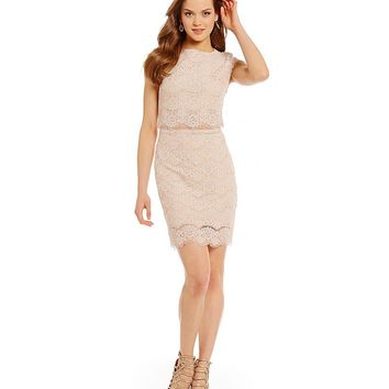Teeze Me Cap-Sleeve Lace Faux Two-Piece Dress | Dillards