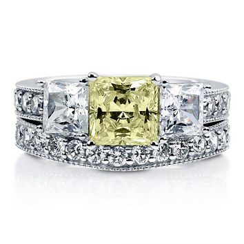 A Perfect 1.7CT Princess Cut Canary Yellow Fancy Russian Lab Diamond Journey Bridal Set Ring