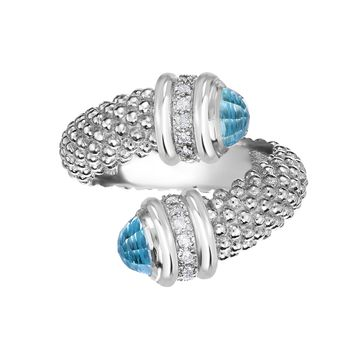 Sterling Silver Blue Topaz And Diamonds Bybass Ring
