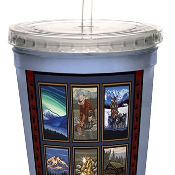Tree-Free Greetings cc33132 Vintage Fairbanks Alaska Collage by Paul A. Lanquist Artful Traveler Double-Walled Cool Cup with Reusable Straw, 16-Ounce
