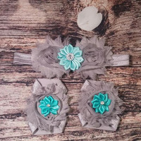 Gray and Teal Shabby and Satin Rhinestone Baby Girl Headband and Headband with Barefoot Sandal Set!