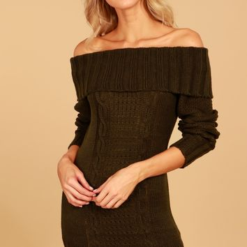 Off The Shoulder Knit Dress Olive