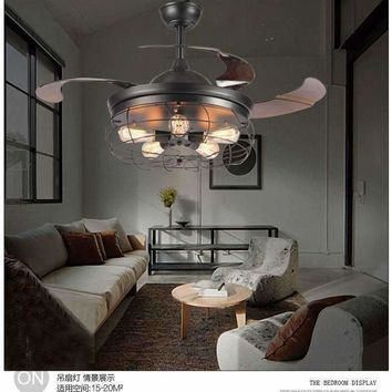 110V~260V American loft fan chandeliers creative minimalist restaurant industrial living room fan chandelier with remote control