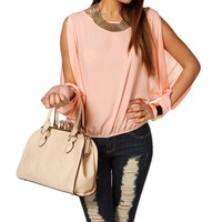 Pink Long Sleeve Gold Plated Cuff Top