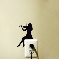 Light Switch Velvet Decal  - Violin Wall Sticker - Classical music Wall Art -woman Playing Violin Decor - Music Decal
