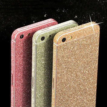 For iPhone 6 6s Plus addition Bling 360 degree full body skin Decal Bling Glitter 5 s 5S phone case protection sticker wrap