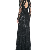 Monique Lhuillier Long-Sleeve Fully-Beaded Gown