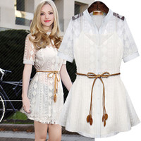 White Lace Sleeve Button-Up Tie Waist Dress