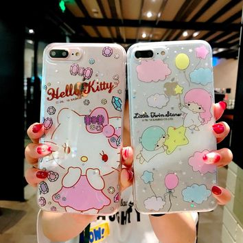 For iphone 8 8Plus unicorn bling phone Cases for iphone 7 7plus X s 6splus melody hello kitty cute clear ack cover