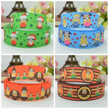 "DUWES 7/8"" 22mm 2 5 10 20 50 Yards Christmas Thanksgiving Day Minions Printed grosgrain ribbon hair bow DIY handmade Retail"