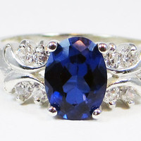 Oval Blue Sapphire Ring - Sterling Silver