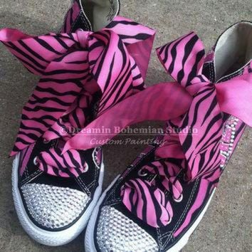 DCKL9 Painted Converse High Tops HOT Pink and Black Diva Personalized with Mega BLING CHUCKS