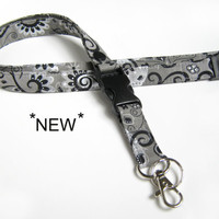 Fabric Lanyard - ID Badge and Key Ring in Stylish Black, Silver and Greys - Optional Breakaway and/or Detachable Side Release Key Ring