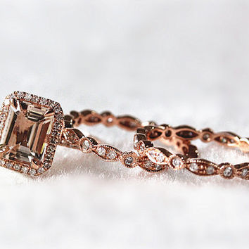 14k Rose Gold  6x8mm Cushion Morganite Halo Diamond Engagement Ring and 2 Diamond Band Set