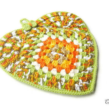 Potholder Crochet, Heart Potholder,  Colorful Potholder, Handmade Potholder, Presina Cuore (Cod. 64)