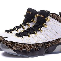 Hot Air Jordan 9 Retro Women Shoes White Gold Black