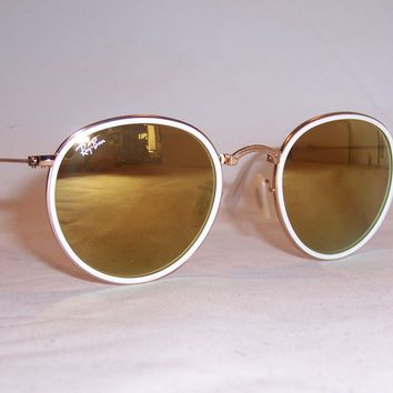 NEW RAY BAN Sunglasses ROUND FOLDING 3517 001/93 GOLD/GOLD MIRROR AUTHENTIC 51mm