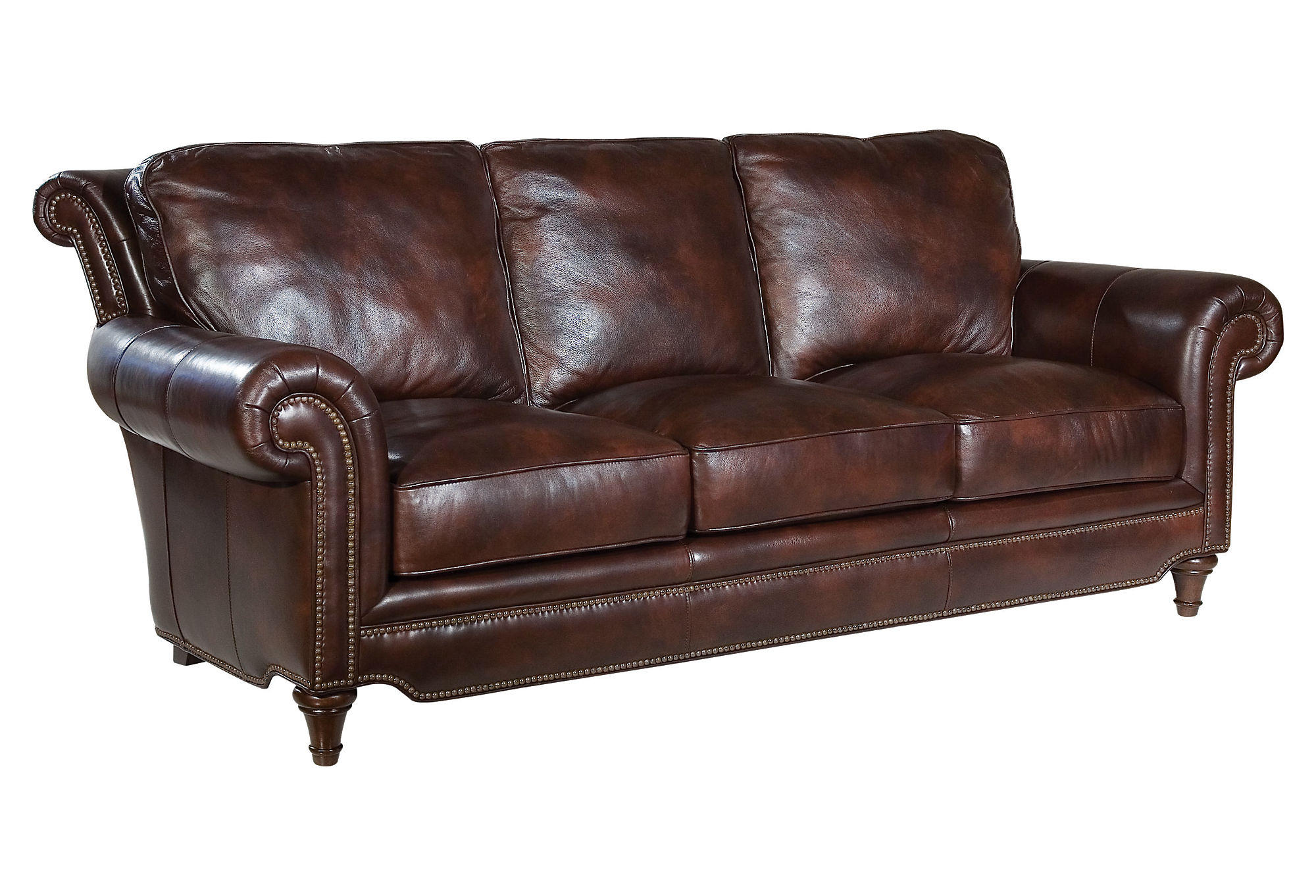 Julian 86quot leather sofa coffee sofas from one kings lane for Leather sectional sofa lane