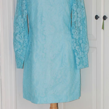 Vintage 60s Emma Domb Mod Blue Lace Party, Wedding Dress, Mini, Size S/XS
