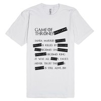 Game of Thrones SPOILERS!-Unisex White T-Shirt