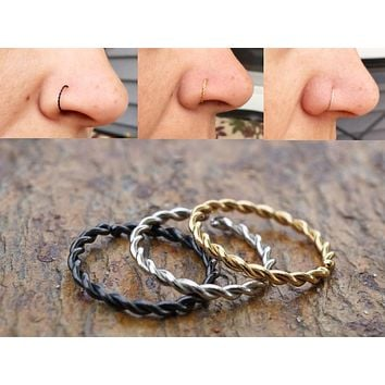 Silver, Gold or Black Twisted Nose Hoop Ring