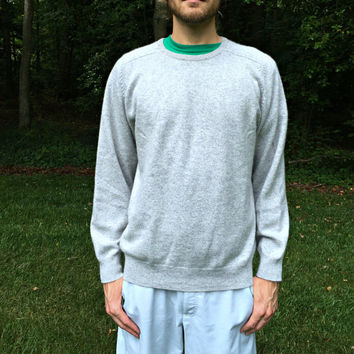 100% Cashmere Sweater by Lands' End - High Quality 2-Ply - Soft & Warm - Vintage Light Gray Crewneck - Men's Size Medium (M)