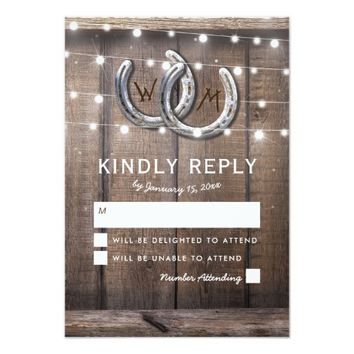 Rustic Country Horseshoe Lights Wedding RSVP Card
