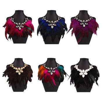 Bohemian Exaggerated Feather Statement Crystal Ribbon Collar Bib Necklaces
