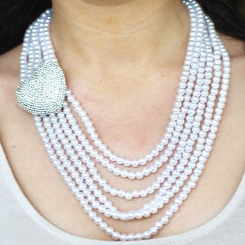 Rhinestone Heart Multi Strand Pearls Necklace