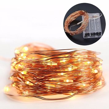 33FT 100 LEDS 4.5V Battery string lights Copper Wire LED fairy lights great for Christmas tree bedroom party garden decorating