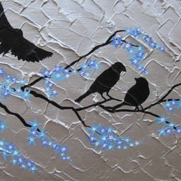 birds and blue cherry blossom tree -large abstract painting