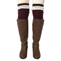 Burgundy Heart Knee High Socks