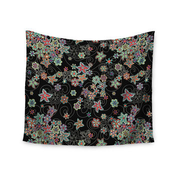 "Julia Grifol ""My Small Flowers"" Black Floral Wall Tapestry"
