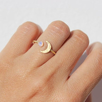 Opal Ring, Stacking Rings, Gold Stacking Rings, Boho Ring, Moonstone Ring, Moon Ring, Gift for Her, Gold Rings, Stackable Rings, Dainty Ring
