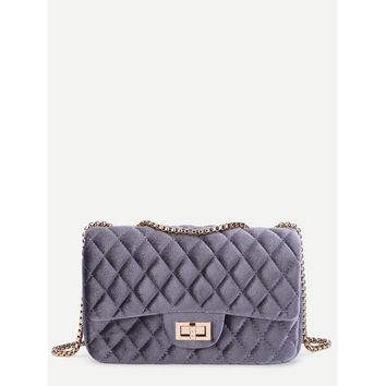 Twist Lock Quilted Velvet Chain Bag